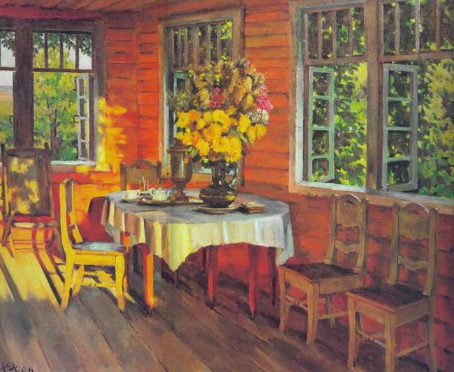 Сочинение-описание по картине К.Ф. Юона Августовский вечер. Последний луч. Лигачёво